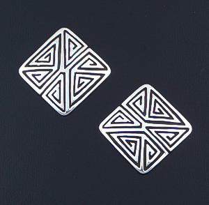 Elgin Tom (Navajo) - Modern Maze Stamped Sterling Silver Square Earrings #42670 $110.00