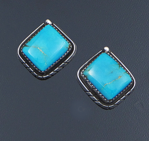 H. Etsitty (Navajo) - Arizona Turquoise & Sterling Silver Beveled Edge Earrings #42697 $160.00
