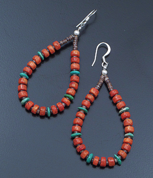 Irene Lovato (Santo Domingo) - Sponge Coral, Turquoise, & Shell Loop Dangle Earrings #42710 $40.00