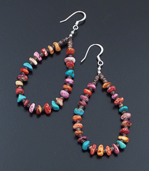 Irene Lovato (Santo Domingo) - Multistone Nugget & Heishi Loop Dangle Earrings #42711 $40.00