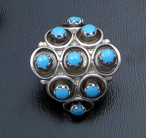 Marlinda Booqua (Zuni) - Turquoise Petit Point & Sterling Silver Rounded Diamond Shaped Earrings #42733 $60.00