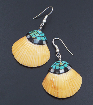Charlotte Reano (Santo Domingo) - Small Inlay Orange Dance Shell Dangle Earrings #42784 $120.00
