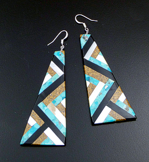 Torevia Crespin (Santo Domingo) - Large Tapered Multistone Inlay Dangle Earrings #42814 $110.00
