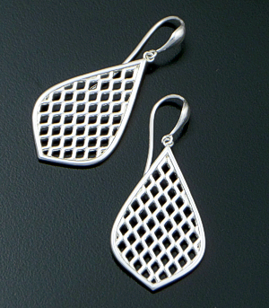 Zina - Large Teardrop Sterling Silver Trellis Dangle Earrings #42854 $90.00