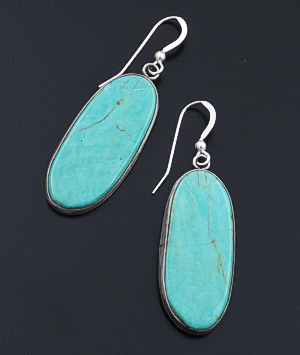 Vernon Begay (Navajo) - Oval Teal Blue Turquoise & Sterling Silver Dangle Earrings #43231 $90.00