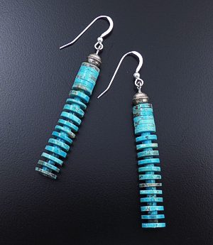 Emery Calabaza (Santo Domingo) - Blue Turquoise Heishi & Sterling Silver Dangle Earrings #43232 $85.00