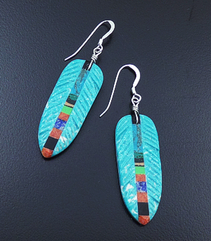 Ronald Chavez (Navajo) - Turquoise & Multistone Inlay Feather Dangle Earrings #43299 $120.00