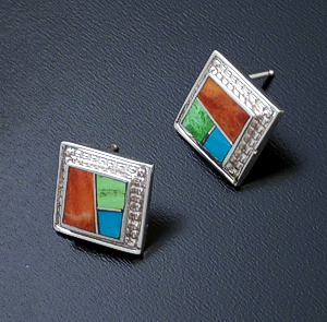 Supersmith Inc. - David Rosales Designs (Navajo) - Indian Summer Inlay & Sterling Silver Beaded Square Earrings #43357 $190.00