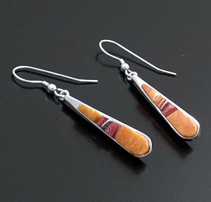 Supersmith Inc. - David Rosales Designs (Navajo) - Desert Fire Shell & Sterling Silver Teardrop Dangle Earrings #43360 ER108C $165.00