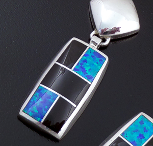 Supersmith Inc. - David Rosales Designs (Navajo) - Black Beauty Inlay & Sterling Silver Square & Rectangle Post Dangle Earrings #43363 ER022 $250.00