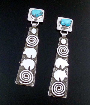 Alex Sanchez (Navajo) - Kingman Turquoise & Sterling Silver Square & Tapered Rectangle Petroglyph Post Dangle Earrings #43424 Item 19 $240.00