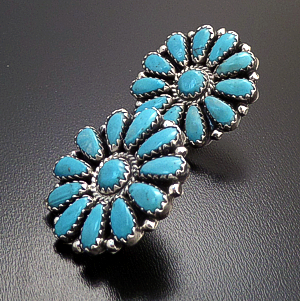 Zeita Begay (Navajo) - Turquoise & Sterling Silver Traditional Round Cluster Earrings #43452 $165.00