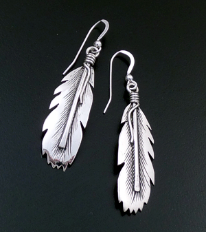 Tee Mace (Navajo) - Intricate Sterling Silver Feather Dangle Earrings #43477 $95.00