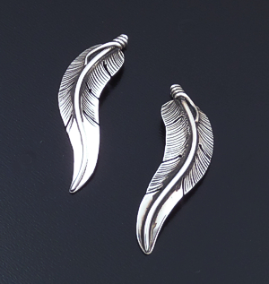 Lena Platero (Navajo) - Intricate Curved Sterling Silver Feather Earrings #43507 $90.00