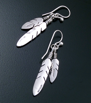 Navajo - Intricate Double Feather Sterling Silver Dangle Earrings #43509 $90.00