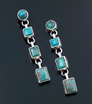 Navajo - Four Stone Royston Turquoise & Sterling Silver Geometric Post Dangle Earrings #43578 $300.00