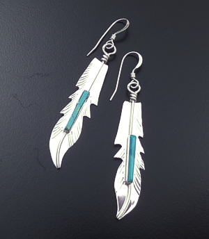 Fred Barney (Navajo) - Turquoise Accented Stamped Sterling Silver Feather Dangle Earrings #43609 $50.00