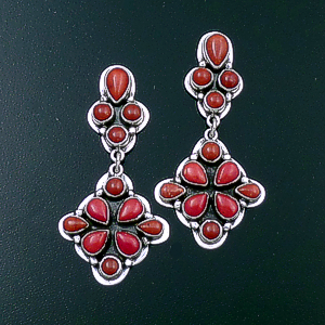 Roie Jaque (Navajo) - Double Cluster Apple Coral & Sterling Silver Post Dangle Earrings #43900 $360.00