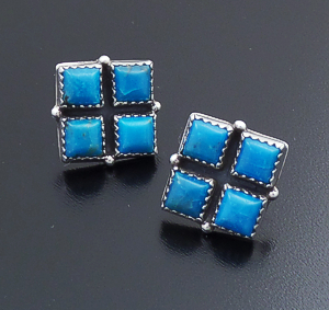 Roie Jaque (Navajo) - Turquoise & Sterling Silver Checkerboard Square Earrings #43903 $180.00