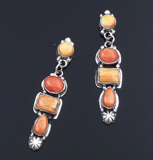 Navajo - Four Stone Red & Orange Shell Sterling Silver Post Dangle Earrings #43909 $210.00