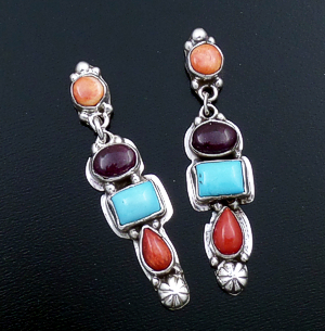 Navajo - Four Stone Multistone & Sterling Silver Post Dangle Earrings #43927 $240.00