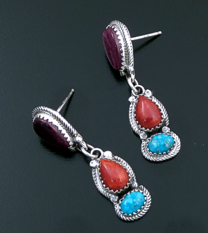 L. Platero (Navajo) - Purple Shell, Coral, & Turquoise Sterling Silver Post Dangle Earrings #43928 $240.00