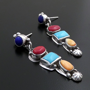 Navajo - Four Stone Multistone & Sterling Silver Post Dangle Earrings #43929 $240.00