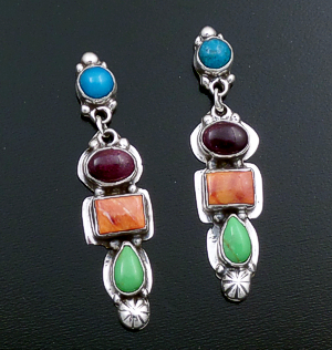 Navajo - Four Stone Multistone & Sterling Silver Post Dangle Earrings #43930 $240.00