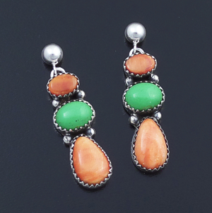 L. Platero (Navajo) - Orange Shell & Gaspeite Sterling Silver Post Dangle Earrings #43931 $240.00