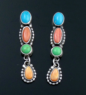 L. Platero (Navajo) - Beaded Multistone & Sterling Silver Post Dangle Earrings #43932 $240.00