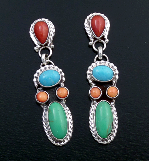 Navajo - Multistone Cluster & Sterling Silver Post Dangle Earrings #43934 $265.00