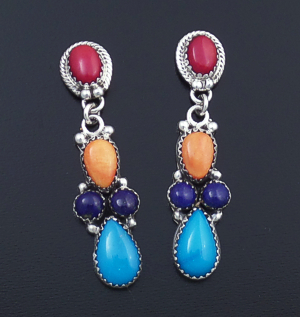 L. Platero (Navajo) - Multistone Cluster & Sterling Silver Post Dangle Earrings #43935 $315.00