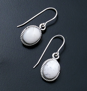 Navajo - Small Oval White Buffalo Turquoise & Sterling Silver Dangle Earrings #43971A $80.00