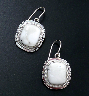 Navajo - Rectangular White Buffalo Turquoise & Sterling Silver Cut & File Dangle Earrings #43992 $165.00