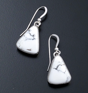 Elvira Chavez (Navajo) - Triangular White Buffalo Turquoise & Sterling Silver Dangle Earrings #44000 $105.00