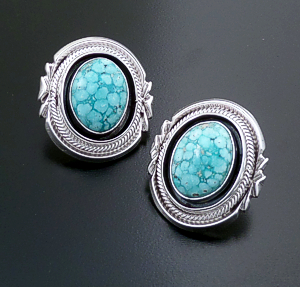 Roie Jaque (Navajo) - Ornate Oval Baby Aqua Turquoise & Sterling Silver Shadowbox Earrings #44337 $435.00