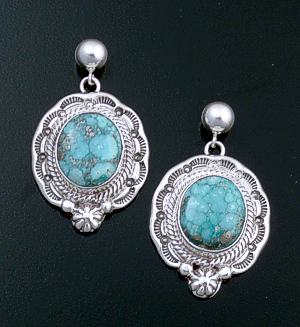 Roie Jaque (Navajo) - Oval Baby Aqua Turquoise & Sterling Silver Stamped Edge Post Dangle Earrings #44338 $390.00