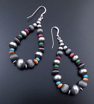 Navajo - Large Multistone & Mixed Burnished Sterling Silver Bead Teardrop Dangle Earrings #44399 $150.00