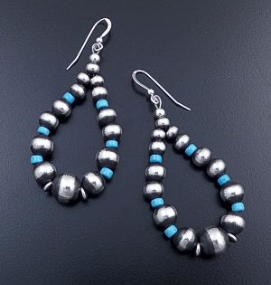Navajo - Large Blue Turquoise & Mixed Burnished Sterling Silver Bead Teardrop Dangle Earrings #44400 $120.00