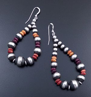 Navajo - Large Tricolor Shell & Mixed Burnished Sterling Silver Bead Teardrop Dangle Earrings #44401 $120.00
