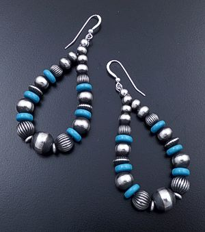 Large Blue Turquoise & Mixed Burnished Sterling Silver Bead Teardrop Dangle Earrings #44402 $135.00