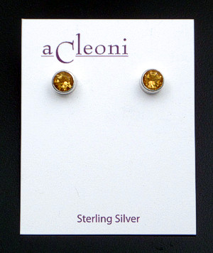 Acleoni - Small Faceted Citrine & Sterling Silver Round Stud Earrings #5533 $60.00