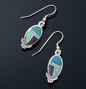 Supersmith Inc. - David Rosales Designs - Shalako Fancy Inlay & Sterling Silver Oval Dangle Earrings #6255 Style ER231F $190.00