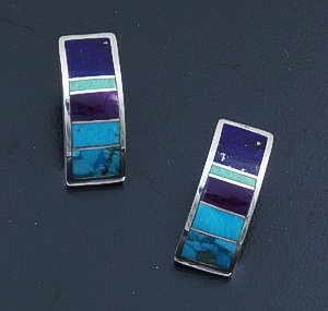 Supersmith Inc. - David Rosales Designs - Spring Mountain Inlay & Sterling Silver Curved Rectangle Earrings #6274 Style ER054 $170.00