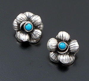 Federico - Clip-On - Small Oaxacan Turquoise Accented Sterling Silver Flower Earrings #10447 $150.00