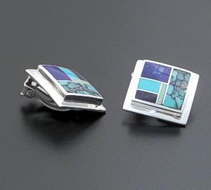 Supersmith Inc. - David Rosales Designs - Spring Mountain Inlay & Sterling Silver Square Earrings - Clip-On #160 Style ER517 $165.00