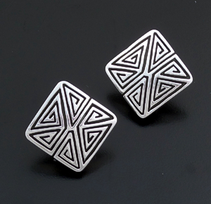 Elgin Tom (Navajo) - Square Sterling Silver Modern Maze Clip-On Earrings #22485 $130.00