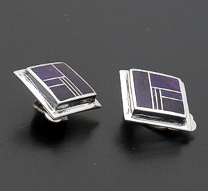 Supersmith Inc. - David Rosales Designs - Plum Crazy Square Inlay & Sterling Silver Earrings - Clip-On #31212 Style ER514 $240.00