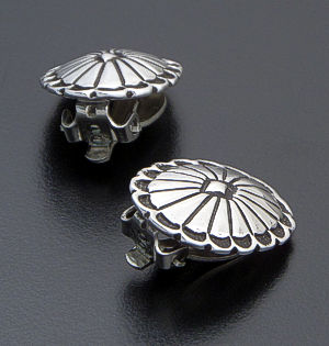 Navajo - Stamped & Oxidized Small Sterling Silver Oval Earrings - Clip-On #40627 $100.00