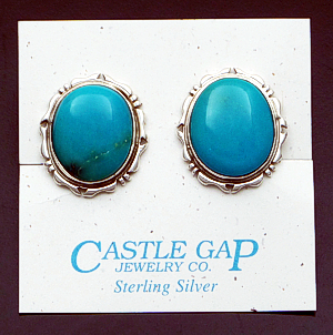Navajo - Oval Kingman Turquoise Cut & File Sterling Silver Earrings - Clip-on #41215 $190.00